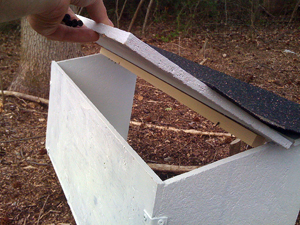 I reinforced the lid with a board that I screwed through to attach the hinges.